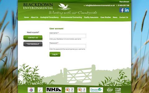 Screenshot of Login Page blackdownenvironmental.co.uk - User account | Blackdown Environmental - captured Sept. 30, 2014