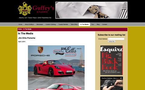 Screenshot of Press Page guffeys.com - Guffey's - Atlanta's Finest Specialty Store for Men - In The Media - captured Oct. 3, 2014