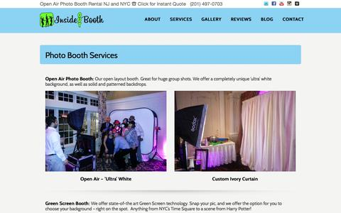 Screenshot of Services Page insideoutbooth.com - NJ NYC Photo Booth Rental Services - Open Air Photo Booths, Step Repeats, Green Screens, Instagram printing - captured Jan. 8, 2016