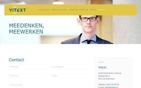 Screenshot of Contact Page vitext.nl - Contact - captured Aug. 14, 2016