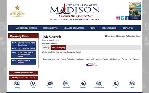 Screenshot of Jobs Page chamberofmadisonsd.com - Job Search - Greater Madison Area Chamber of Commerce,SD - captured Sept. 19, 2017