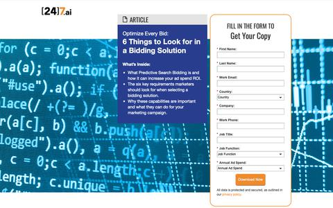 Screenshot of Landing Page 247.ai - 6 Things to Look For in Bidding Optimization Solutions - captured Nov. 26, 2018