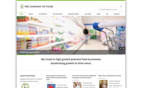 Screenshot of Home Page thecompanyoffood.ie - The Company Of Food invest in high growth potential food businesses. - captured Sept. 30, 2014