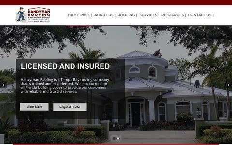 Screenshot of Home Page handymanroofing.com - Handyman Roofing Contractors - captured July 20, 2019