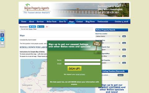 Screenshot of Maps & Directions Page belizepropertyagent.com - Maps of Belize, District maps of Belize, city and town maps of belize | Belize Real Estate - captured Oct. 5, 2018