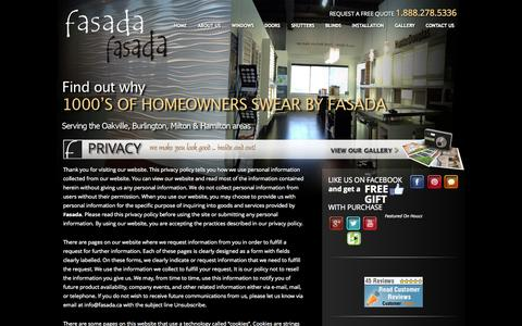 Screenshot of Privacy Page fasada.ca - Privacy - captured Oct. 5, 2014