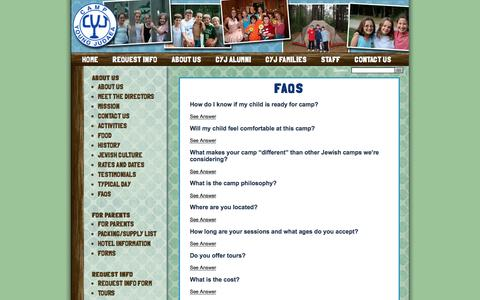 Screenshot of FAQ Page campyoungjudaea.com - FAQs – Camp Young Judaea - captured March 10, 2016