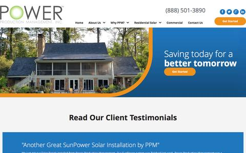 Screenshot of Testimonials Page powerproductionmanagement.com - Testimonials | SunPower by Power Production Management - captured Nov. 10, 2016