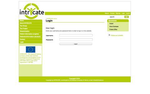 Screenshot of Login Page intricate.eu - Login - Intricate - captured Oct. 4, 2014