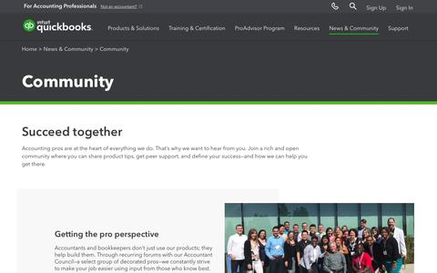 Screenshot of Press Page intuit.com - Quickbooks Accountants Community, Quickbooks Accountant Council | Intuit - captured Nov. 21, 2019