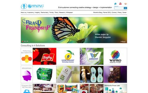 Screenshot of Home Page shiningconsulting.com - Shining consulting - End-customer connecting creative strategy - captured Oct. 6, 2014