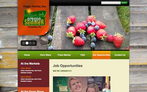 Screenshot of Jobs Page ungerfarms.com - Job Opportunities  |  Unger Farms - captured Oct. 7, 2014