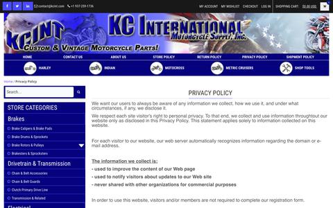 Screenshot of Privacy Page kcint.com - Privacy Policy | KCINT KC International Motorcycle Supply Inc. - captured Oct. 14, 2018