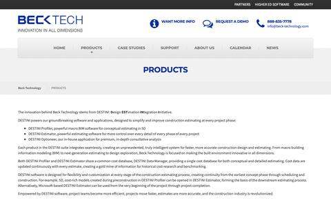 Screenshot of Products Page beck-technology.com - Construction Estimator Tools: by Beck Tech. Free Demos (888) 835-7788 - captured Oct. 5, 2018