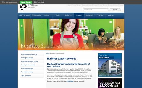 Screenshot of Support Page bradfordchamber.co.uk - Business support services from Bradford Chamber | Bradford Chamber - captured Sept. 30, 2014