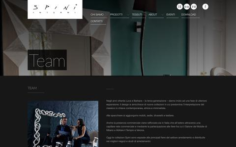 Screenshot of About Page Team Page spini.com - Spini - Complementi d'arredo - captured Oct. 22, 2014