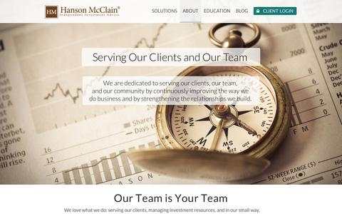 Screenshot of Team Page hansonmcclain.com - Leadership, Our Team Approach, Serving Our Clients - captured Jan. 25, 2016