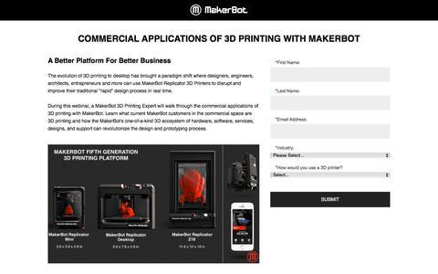 Screenshot of Landing Page makerbot.com captured Aug. 20, 2016