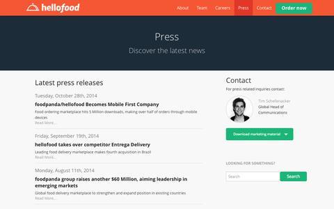 Screenshot of Press Page hellofood.com - Press | Food Delivery | Order Food Online | hellofood - captured Oct. 31, 2014