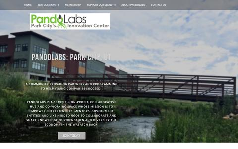 Screenshot of Home Page pandolabs.org - PandoLabs Co-Workspace in Park City, UT - Home - captured July 18, 2015