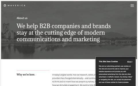 Screenshot of About Page maverick-intl.com - Your B2B Communications & Marketing Partner | Meet the Maverick Team - captured Oct. 17, 2018