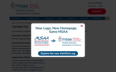 Screenshot of Contact Page mymsaa.org - Contact Us – MSAA: The Multiple Sclerosis Association Of America - captured Jan. 13, 2020