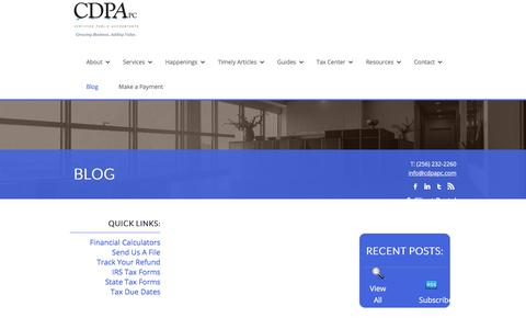 Screenshot of Blog cdpapc.com - Athens and Huntsville Alabama Accounting Firm | Blog Page | CDPA,PC - captured July 14, 2018