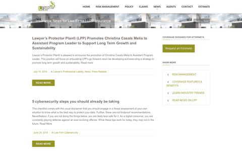 Screenshot of Press Page lppinsurance.com - Lawyer's Protector Plan  Insurance News for Law Firms | LPP Insurance - captured Sept. 27, 2018