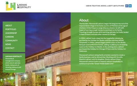 Screenshot of About Page lakhanihospitality.com - About Lakhani Hospitality - captured Jan. 24, 2016