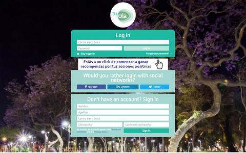 Screenshot of Login Page tuola.mx - tu Ola - captured Sept. 19, 2014