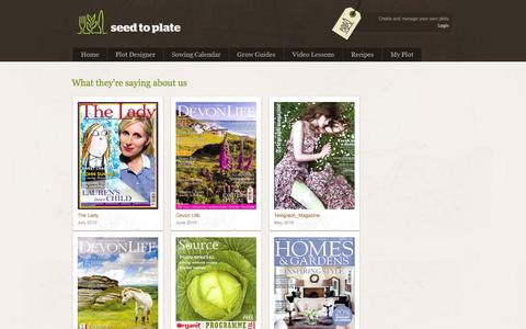 Screenshot of Press Page seedtoplate.co.uk - Organic Vegetable Seeds || Seed to Plate - Grow your own vegetables from seed - captured Oct. 3, 2014