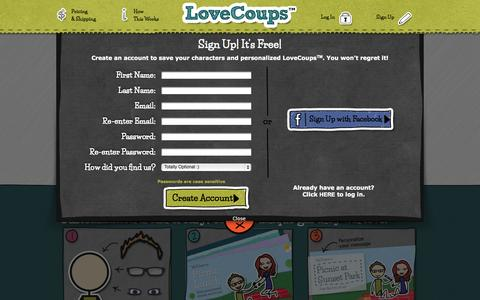 Screenshot of Signup Page lovecoups.com - LoveCoups.com | Personalized Romantic Love Coupons - captured Sept. 22, 2014