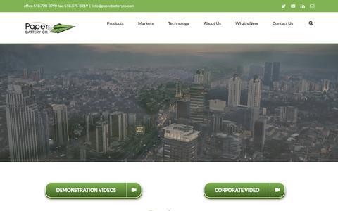 Screenshot of Home Page paperbatteryco.com - Paper Battery Company - captured Dec. 3, 2015