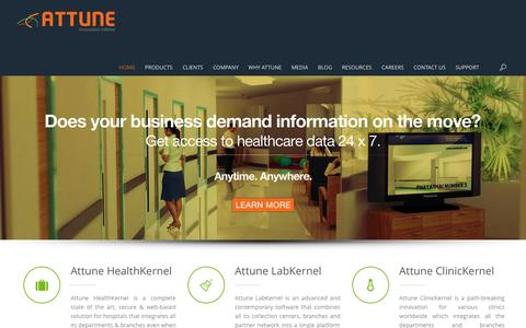 Screenshot of Home Page attunelive.com - Healthcare IT Company | Best Healthcare Software Company | Attune Technologies - captured Jan. 14, 2016