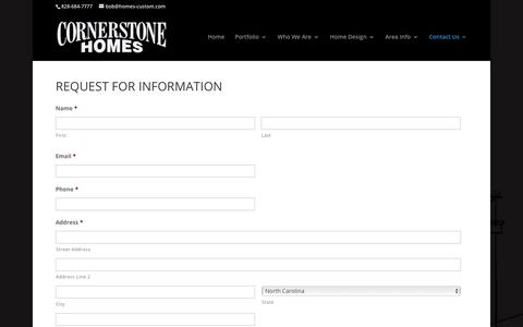 Screenshot of Contact Page homes-custom.com - Request for Information - Cornerstone Homes Custom Builders: Asheville NC Custom Home| Home Remodel | Landscaping - captured Sept. 3, 2017