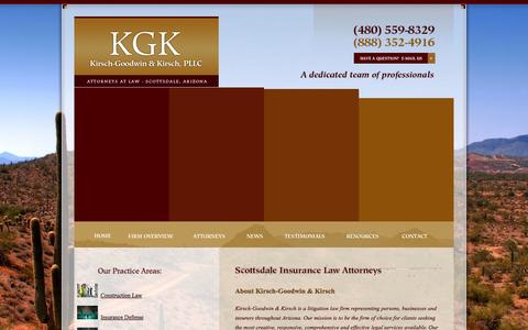 Screenshot of Home Page kgklaw.com - Scottsdale Business Law Lawyer | Phoenix Construction Law Attorney | Arizona Business Litigation Lawyer - captured Oct. 1, 2014