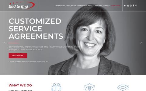 Screenshot of Home Page endtoend.com - End to End Networks | Your Technology Advisor - captured Sept. 28, 2018