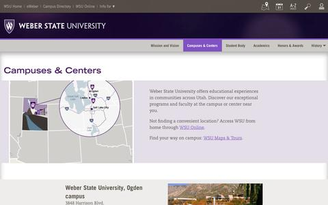 Screenshot of Locations Page weber.edu - Campuses & Centers - captured Sept. 23, 2018