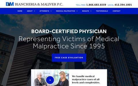 Screenshot of Home Page bem-law.com - Pittsburgh Medical Malpractice Lawyer | Biancheria & Maliver - captured Feb. 7, 2016
