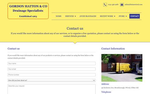 Screenshot of Contact Page drainswirral.com - Contact - captured Sept. 29, 2018