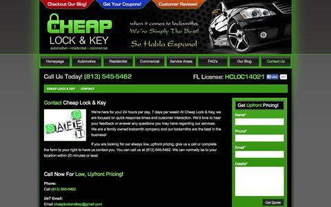 Screenshot of Contact Page cheaplockandkey.com - Contact Tampa Bay Area Locksmith - Cheap Lock & Key - captured Oct. 26, 2014