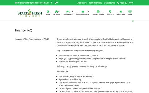 Screenshot of FAQ Page startfreshfinance.com.au - FAQ - Start Fresh Finance - captured Dec. 17, 2016