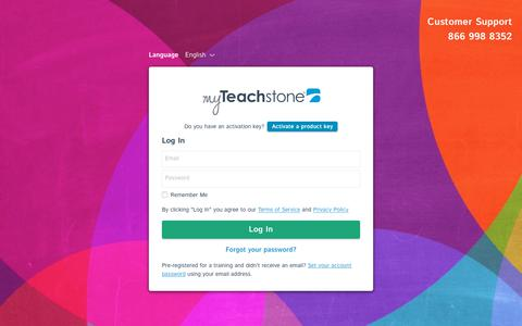 Screenshot of Login Page teachstone.com - Teachstone Login - captured Sept. 21, 2018