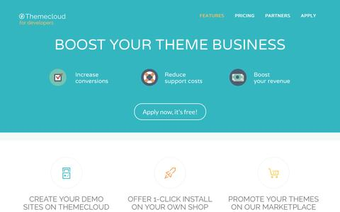 Screenshot of Developers Page themecloud.io - Themecloud, next generation WordPress hosting – Power up your theme shop with groundbreaking features - captured March 12, 2016
