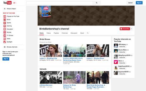 Screenshot of YouTube Page youtube.com - BirdsBarbershop's channel  - YouTube - captured Oct. 23, 2014