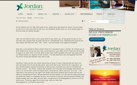 Screenshot of Testimonials Page jdtours.com - Jordan Direct Tours | testimonials by our clients - captured Nov. 27, 2016