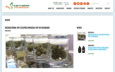 Screenshot of Press Page cannabiskinetics.com - Cannabis Kinetics, Corp. - captured Nov. 3, 2014