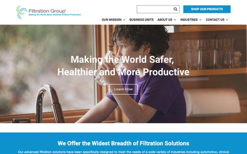 Screenshot of Home Page filtrationgroup.com - home - Filtration Group - captured Sept. 22, 2019