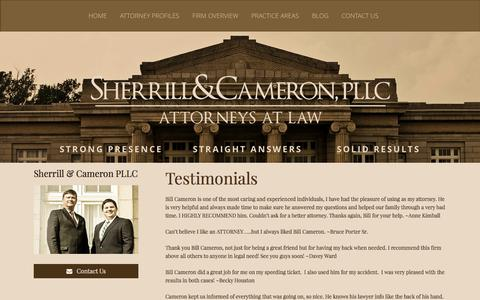 Screenshot of Testimonials Page sherrillcameron.com - Sherrill and Cameron Salisbury Attorney Testimonials - captured Nov. 5, 2014