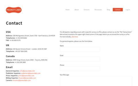 Screenshot of Contact Page peanutlabs.com - Contact  |  Peanut Labs - captured July 19, 2014